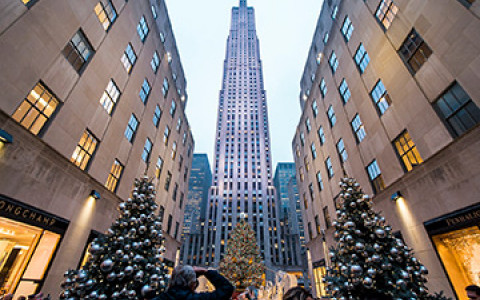 a view of Rockefeller plaza at Christmas time