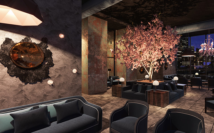 dim lounge area with navy couches and chairs, pink decorative tree, and small lights