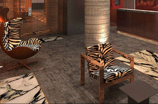 two zebra print chairs in the lobby area