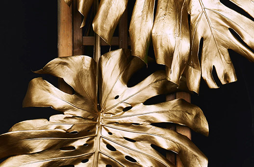 gold metal palm leaves