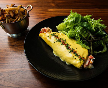 omlette with greens and french fries