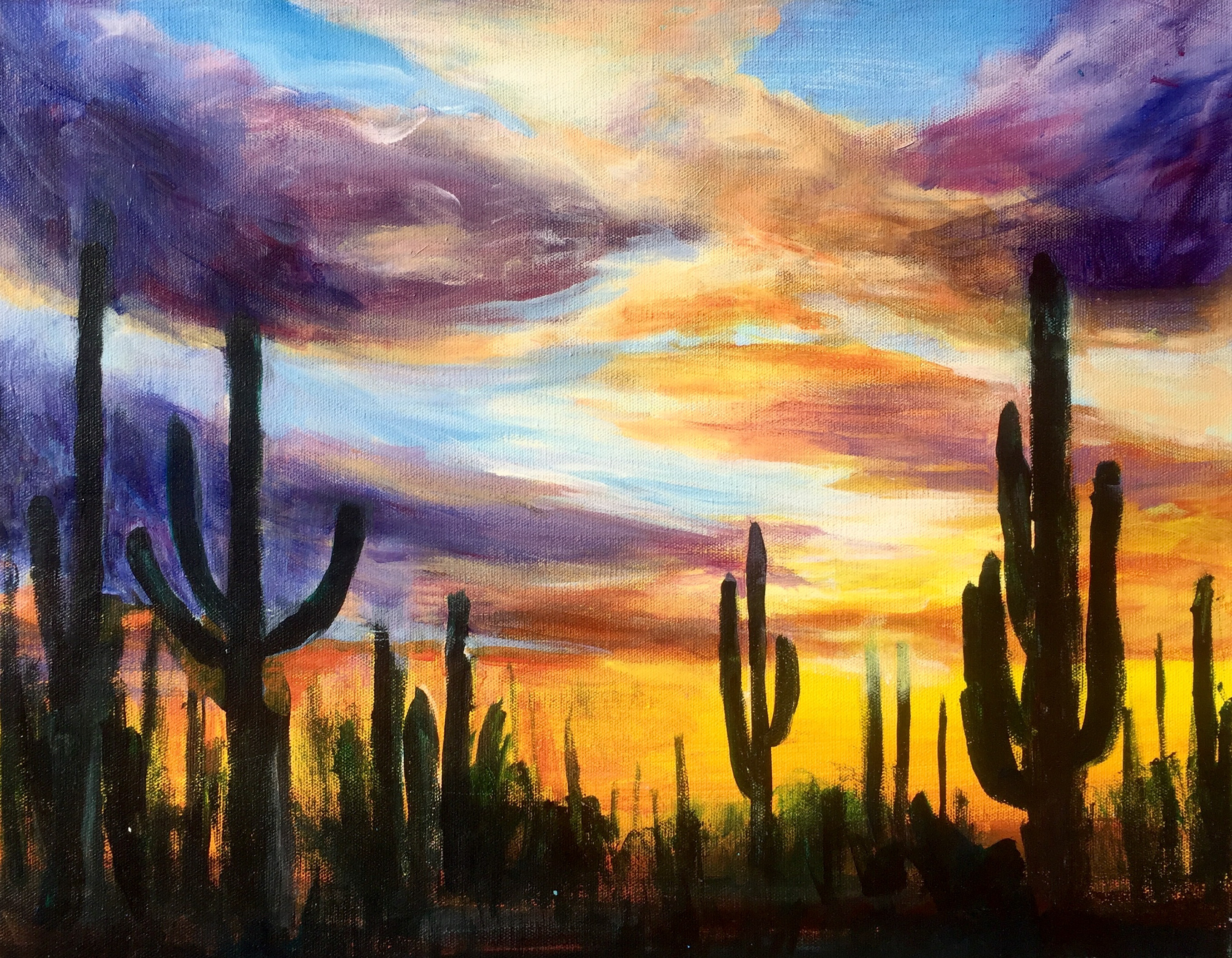 painting on an Arizona sunset with purple and orange clouds and cactus