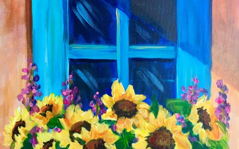 Painting of blue window with sunflowers