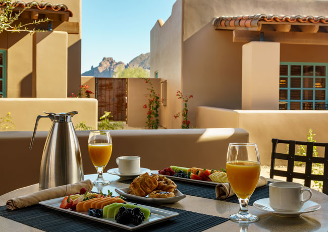 Breakfast served in outdoor patio