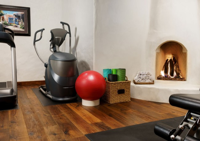 Small gym with fireplace