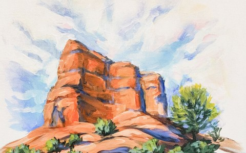 painting of red rock mountain with blue sky