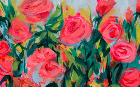 painting of red roses in garden