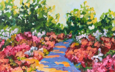 paiting of a path of flowers
