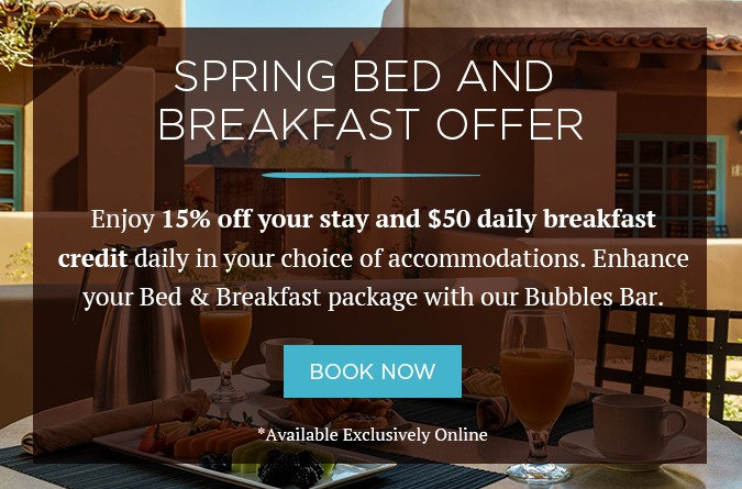 spring bed and breakfast offer with background photo of brunch food