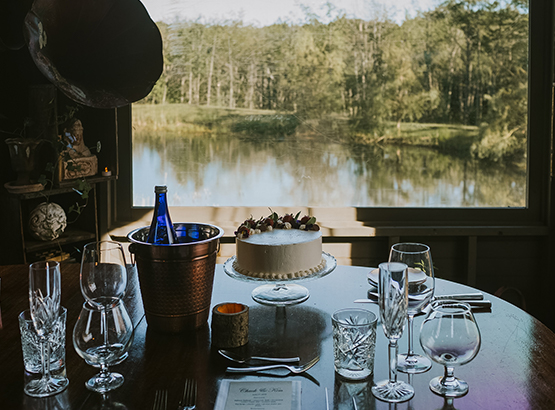 private dining on a porch overlooking the water