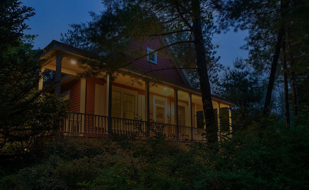 exterior of a cottage at nighttime
