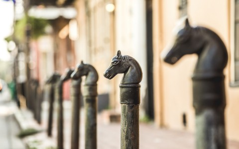 steel horse head posts on street