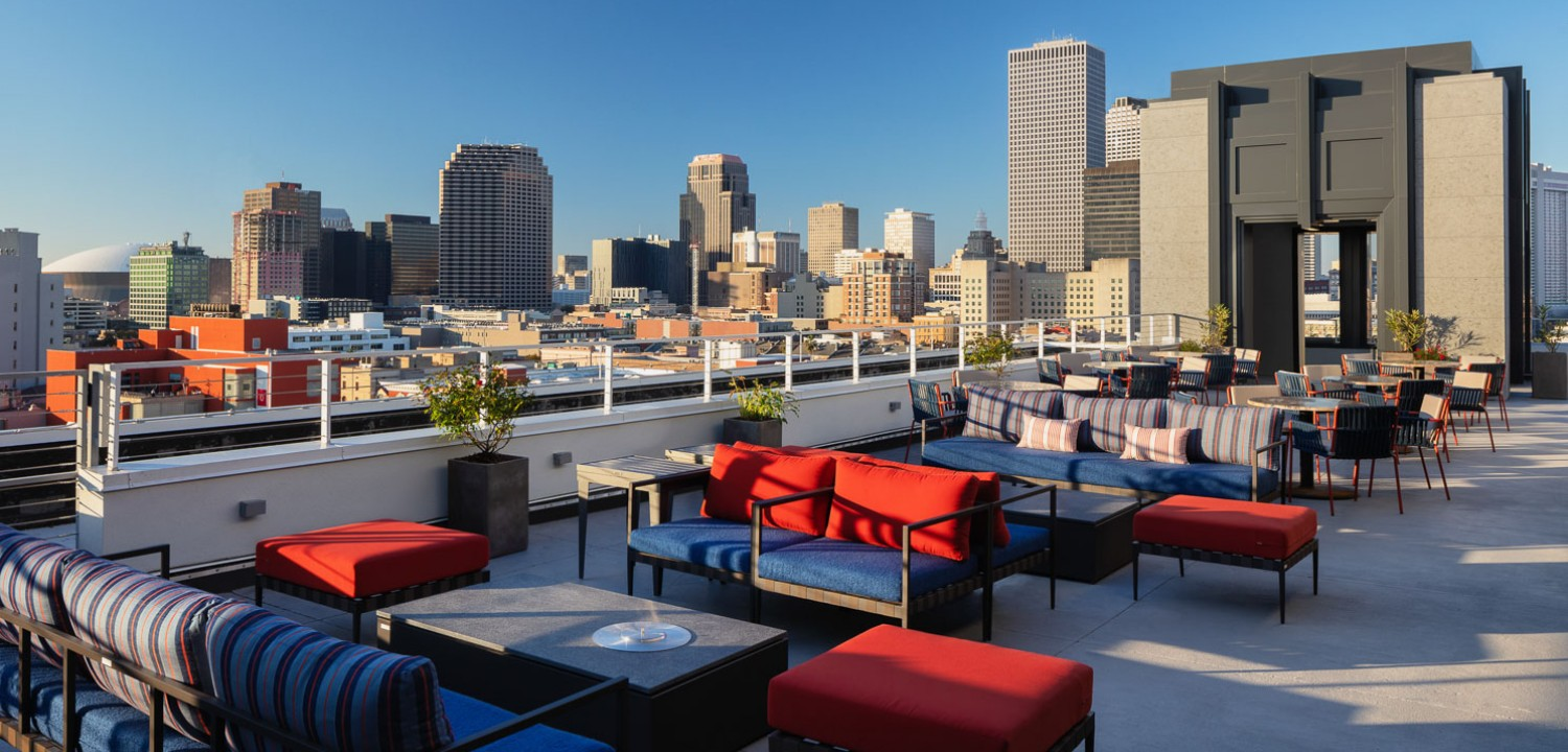 rooftop seating area overlooking the city