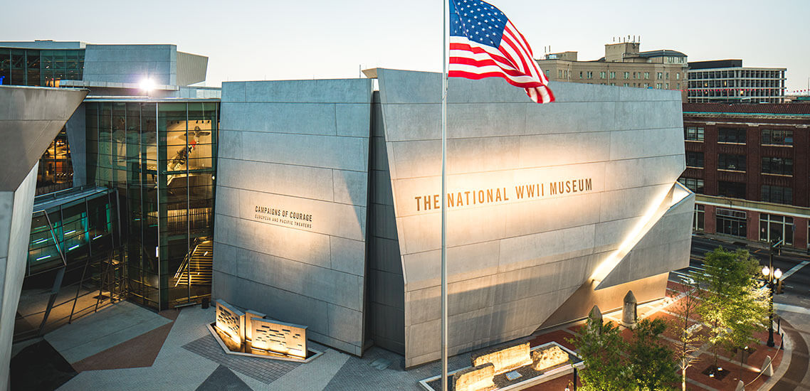 ww2 museum with American flag in the front