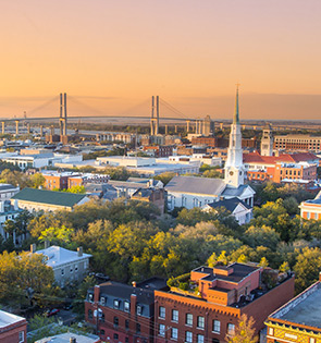 aerial shot of downtown savannah