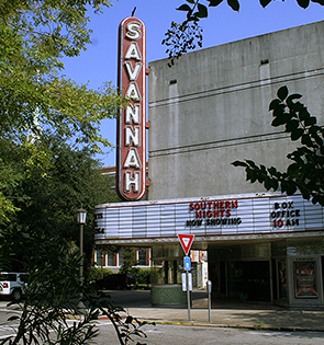 Historic Savannah theater with it's neon exterior sign