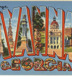 old graphic post card from savannah georgia