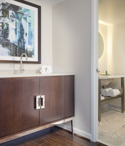 bathroom vanity has 2 separate vanities with sinks