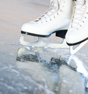 close up of white iceskates