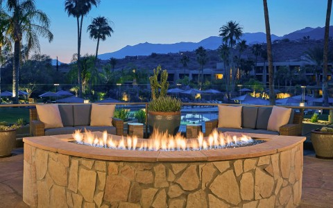 fire pit with desert view
