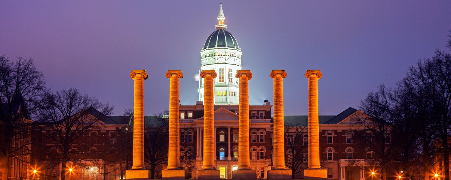 university of missouri building at night