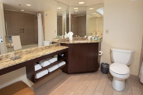 bathroom with toilet and a granite countertop filled with towels and toiletries