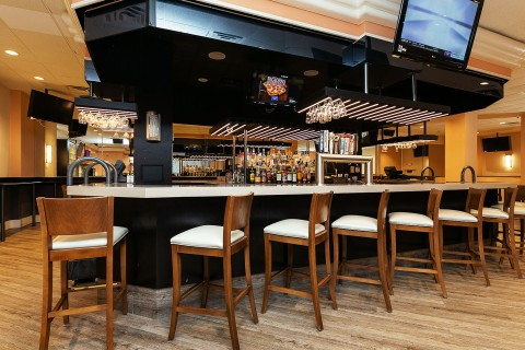 bar with high chairs