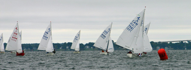 Boats with white sails on the water