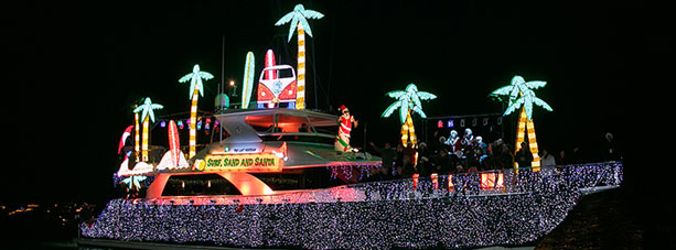 boat lit up with christmas lights