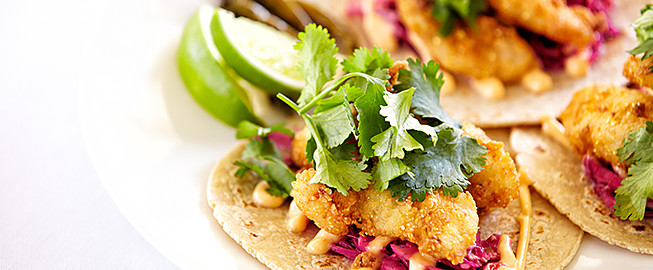 Fish tacos with veggies & cilantro
