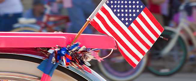Close up of American flag on bicycle