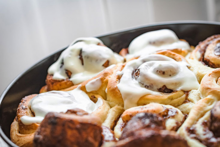 cinnamon buns in pan