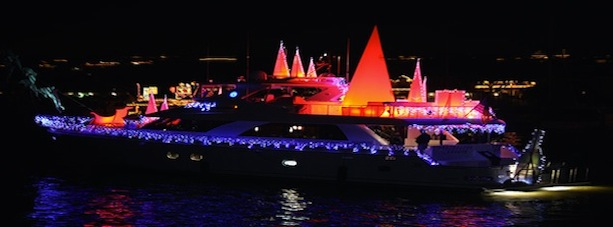 Boat lit up for christmas