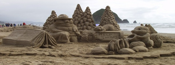 Detailed sandcastles by the beach