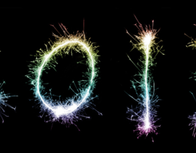 2013 spelled out with sparklers