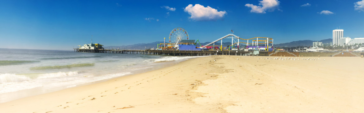 View of Santa Monica pier from the beach