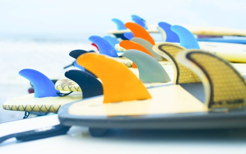 Close up of colorful surfboard fins