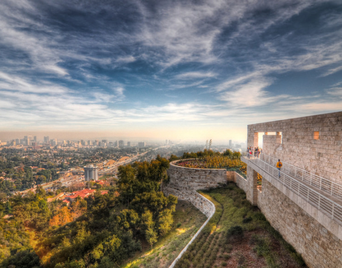 A panoramic view of the Getty Museum and Los Angeles