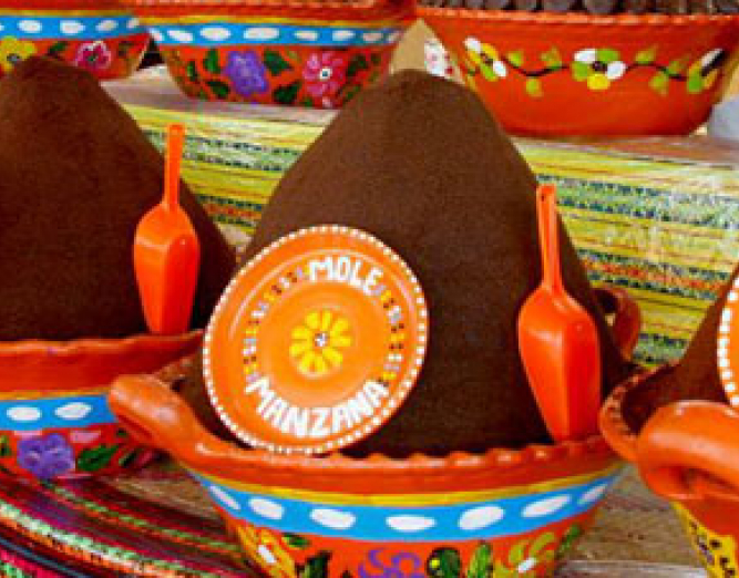 Bowls of different types of mole