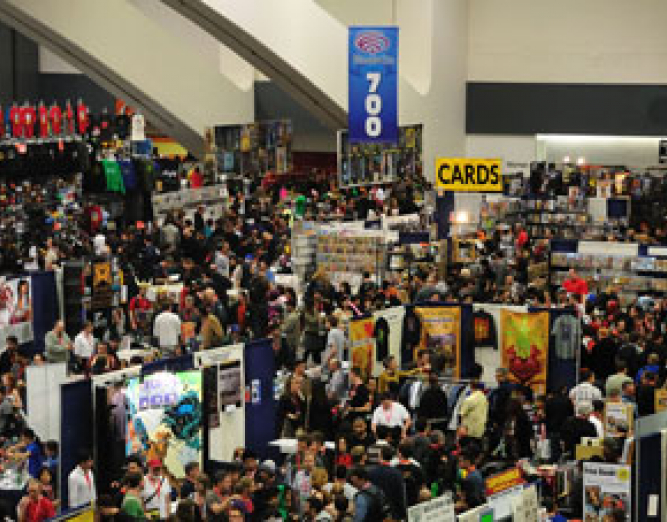 Convention center set for Wondercon with crowd of people