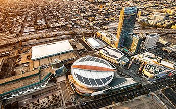 Aerial view of Staples Center and city