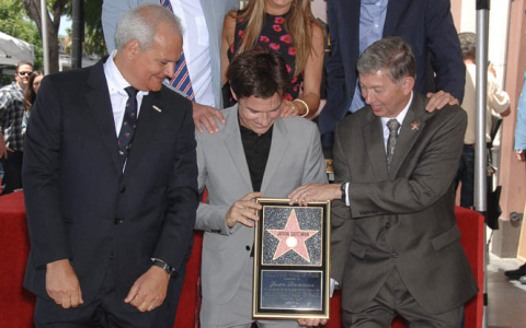Jason Bateman receiving his star on the hollywood walk of fame