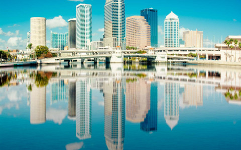 a view of donwtown tampa seen from behind a body of water
