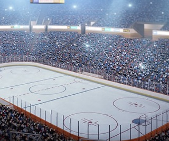 Hockey arena with filled bleachers