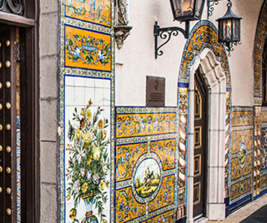 ornate colorful tile on the walls of a building in ybor city