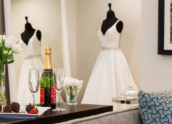 wedding dress and champagne