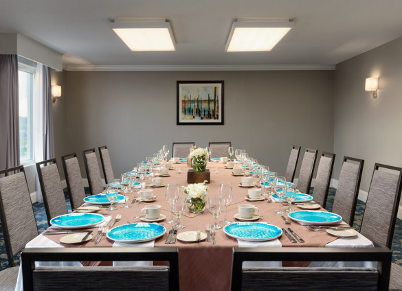 boardroom with blue plates