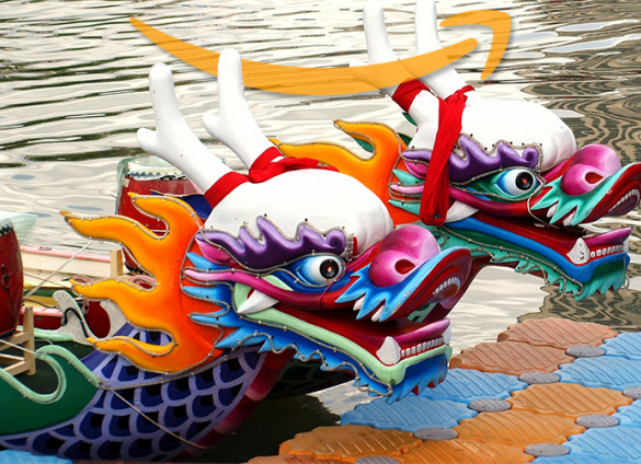 Colorful Clip Art Depicting Two Dragon Boats
