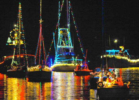 Decorated Boats in Christmas Parade of Lights