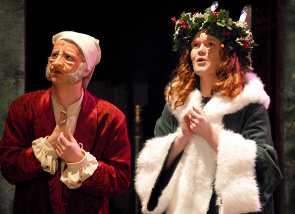 Scrooge and Ghost of Christmas Present in Stage Production of A Christmas Carol